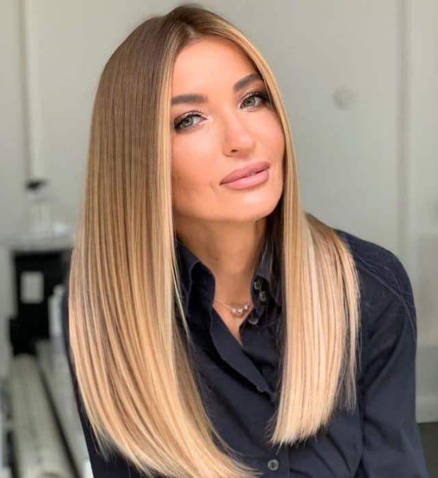 Балаяж на прямые светлые волосы