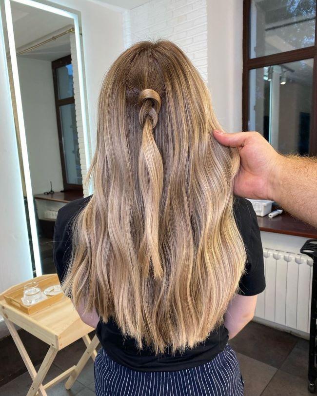 Балаяж на прямые длинные волосы