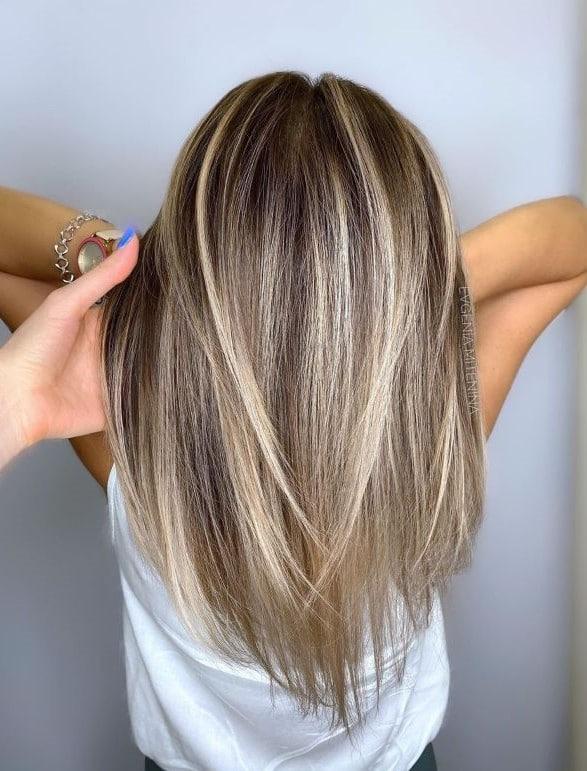 Балаяж на прямых волосах