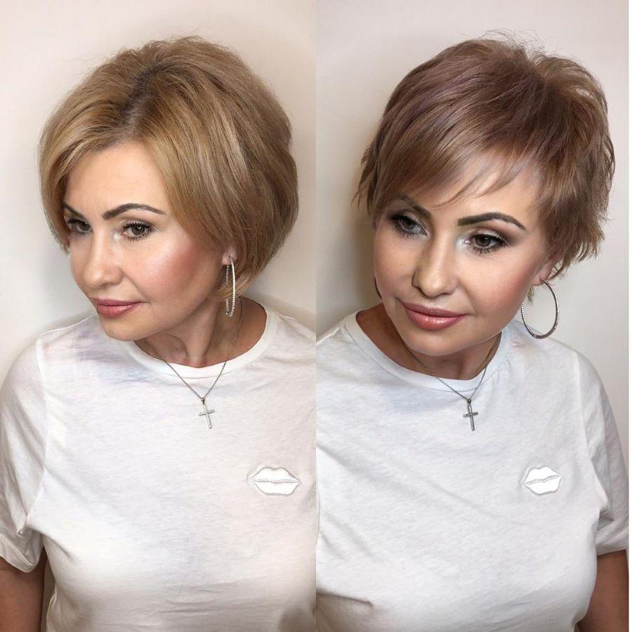 красивая стрижка на короткие волосы в 50 лет